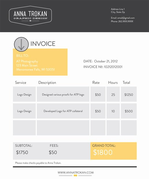 Web Design Invoice Template Inspirational Cool Graphic Design Invoice Template Design From Anna