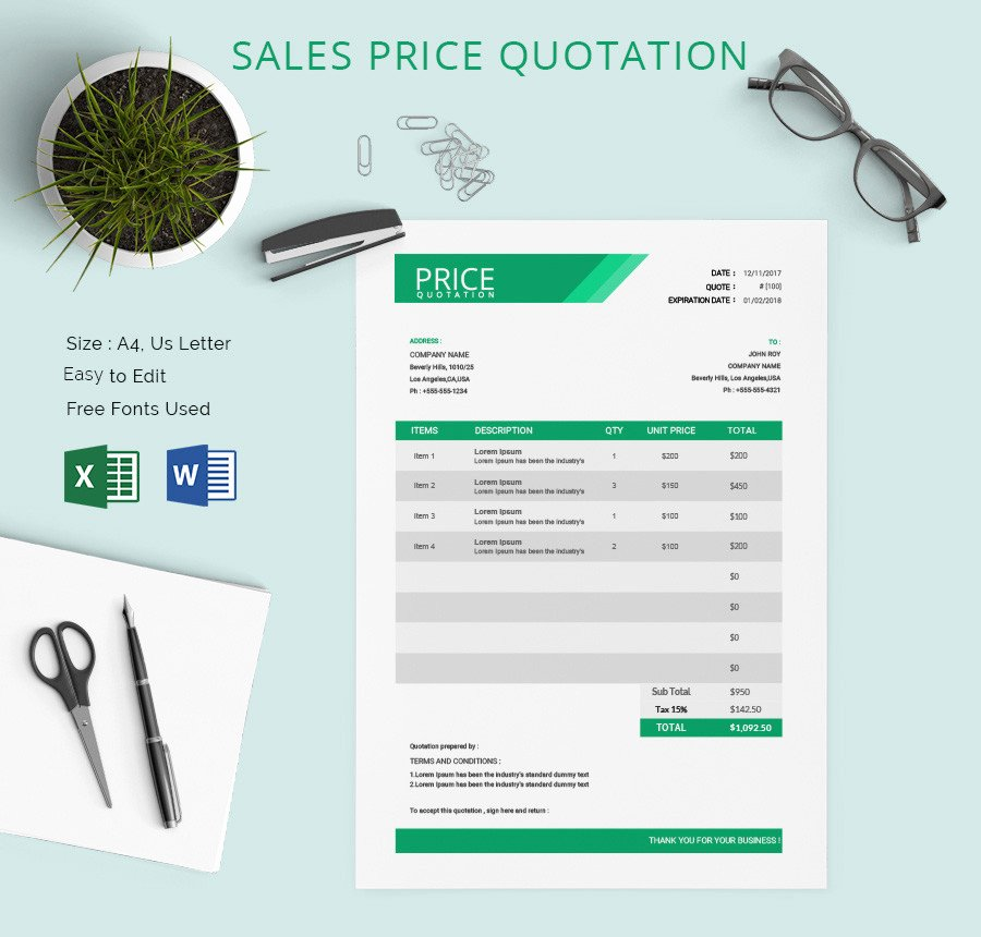 Web Design Quote Template Best Of Price Quotation Template 15 Free Word Excel Pdf