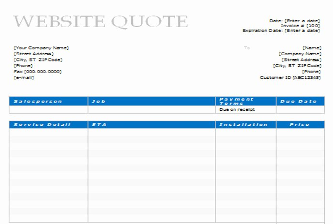 Web Design Quote Template Inspirational 14 Document Template Web Design Quote Design
