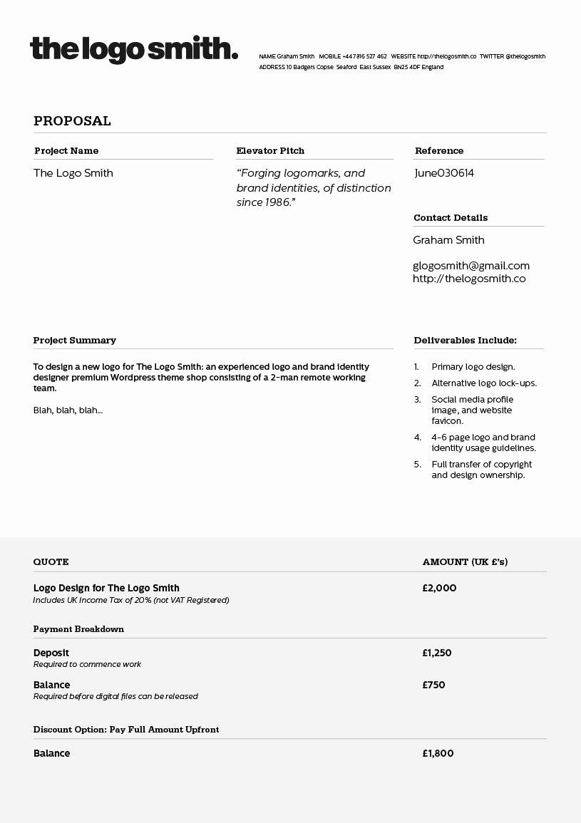 Web Design Quote Template Unique Logo Design Proposal Invoice Template to Download