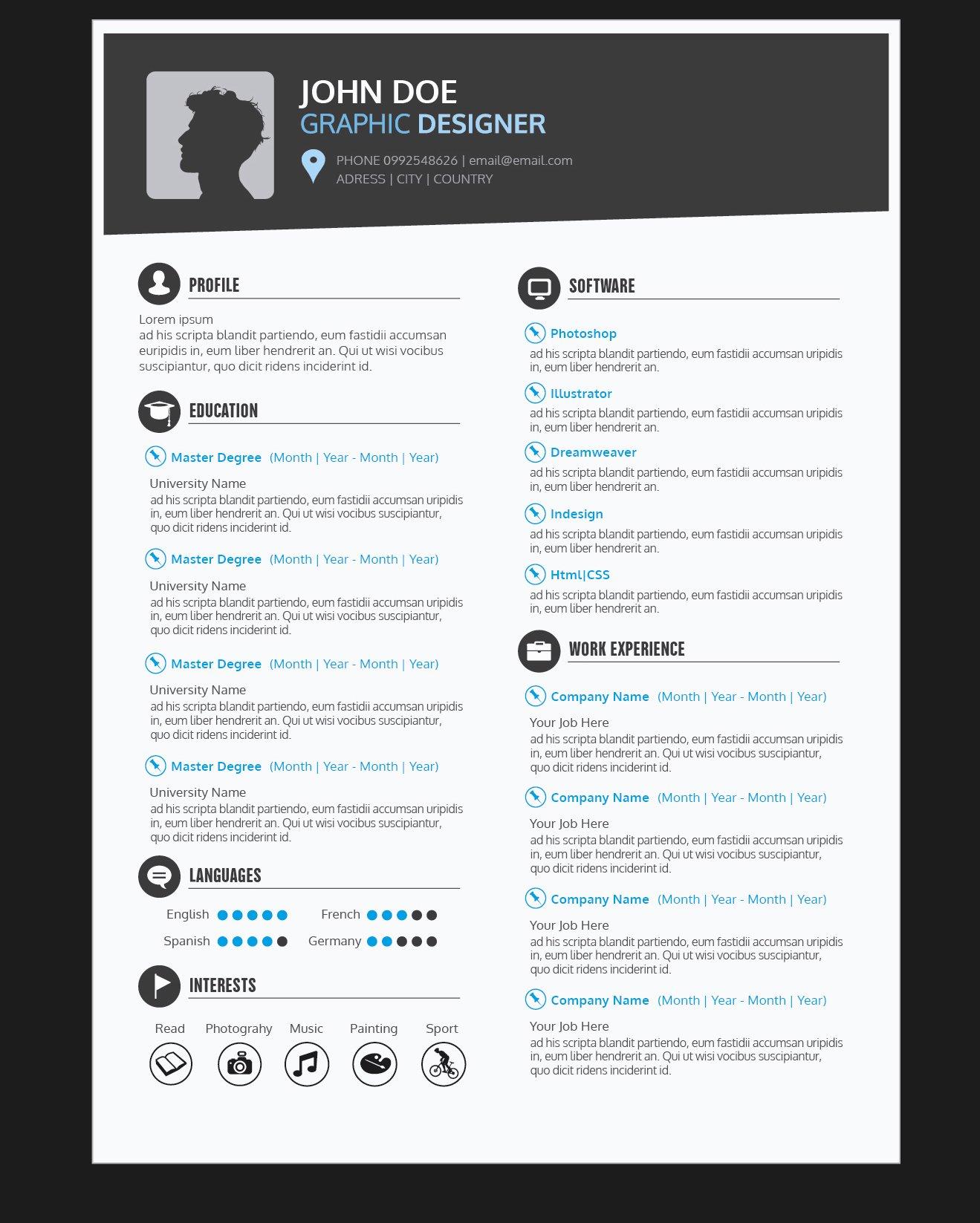 Web Designer Resume Template Awesome Graphic Designer Resume Cv Vector