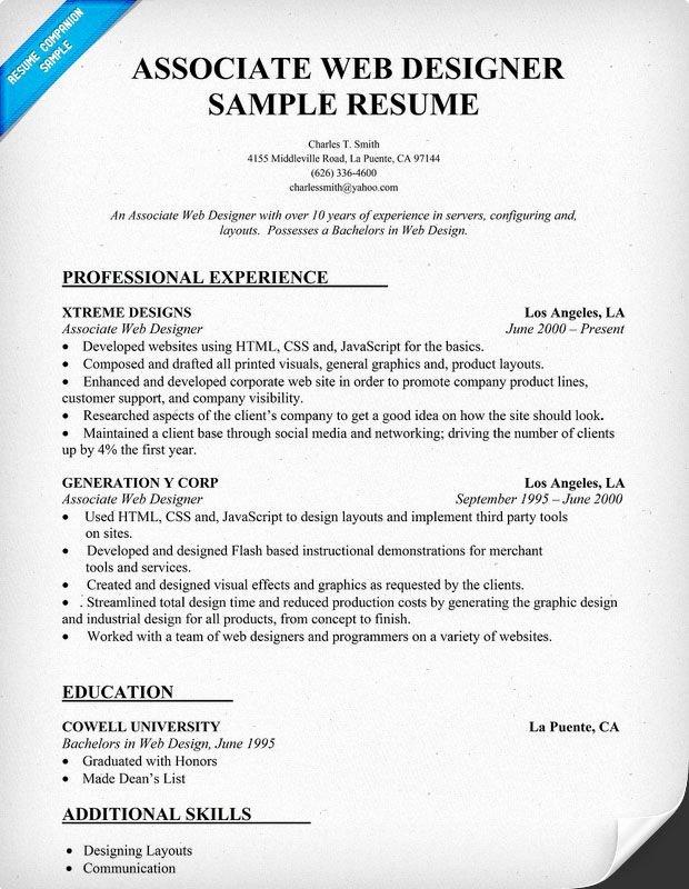 Web Designer Resume Template Awesome Resume Sample associate Web Designer
