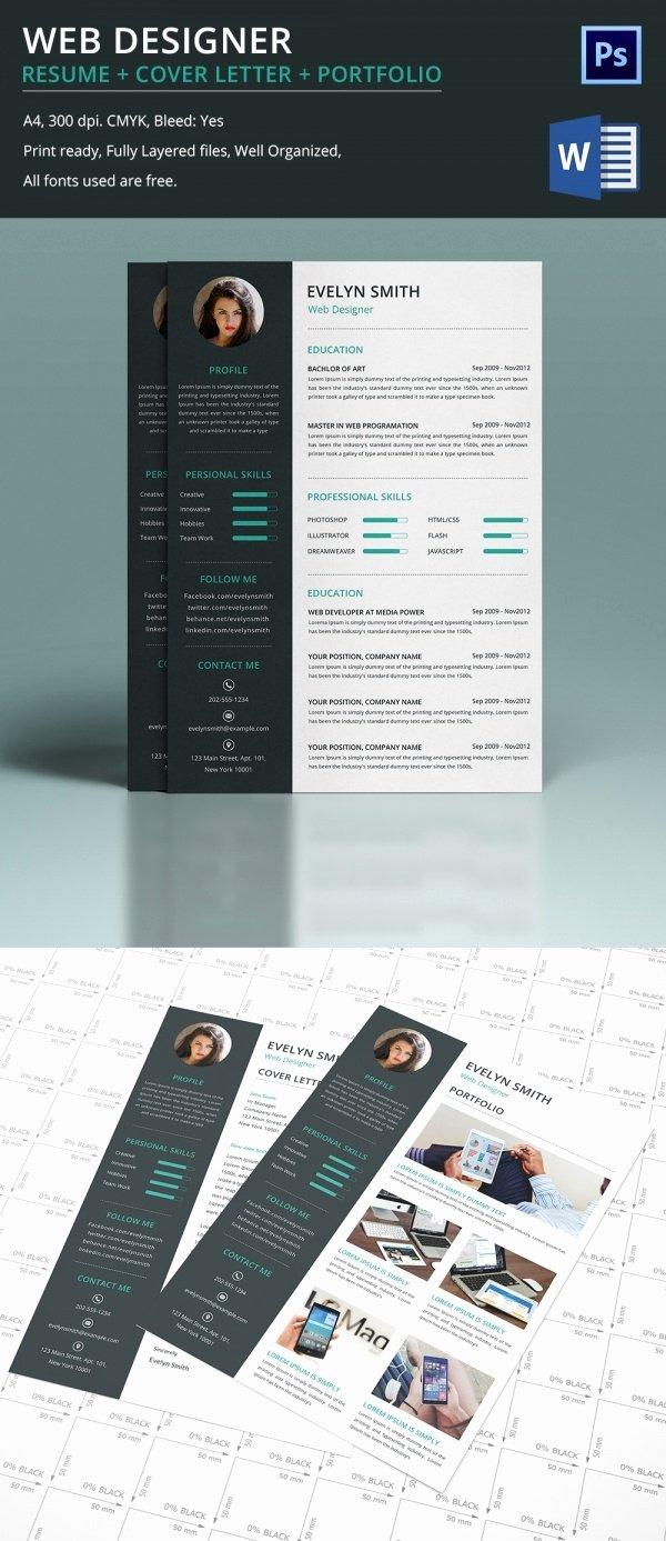 Web Designer Resume Template Awesome Web Designer Resume Cover Letter Portfolio Template