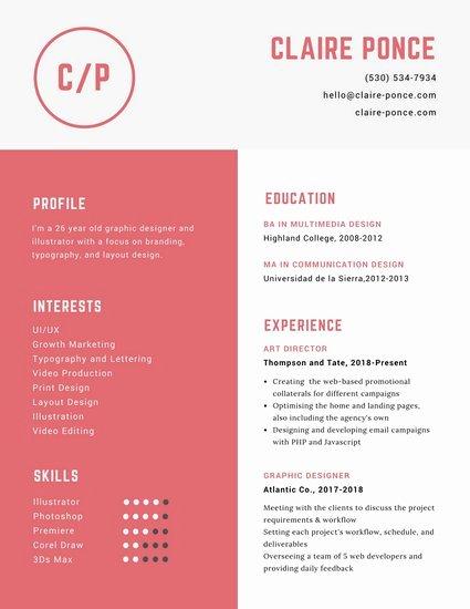 Web Designer Resume Template New Customize 563 Graphic Design Resume Templates Online Canva