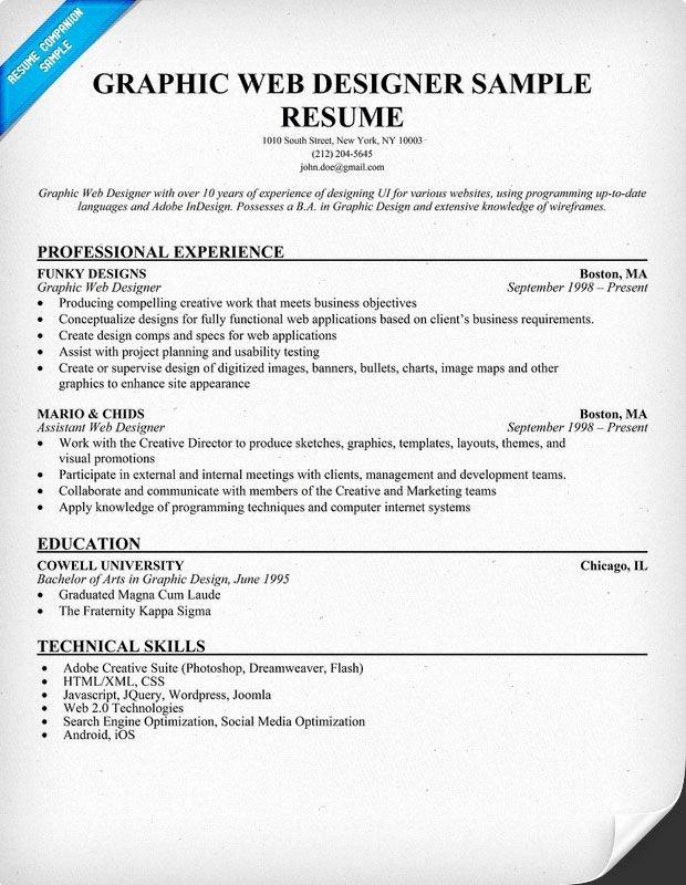 Web Designer Resume Template Unique Graphic Web Designer Resume Sample Resume Panion