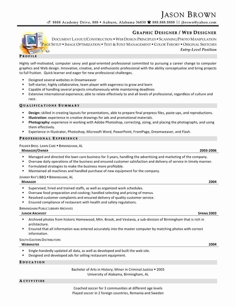 Web Designer Resume Template Unique Web Design Resume Sample
