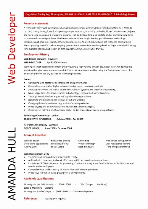 Web Developer Resume Template Best Of Web Developer Resume Resume Personal Statement