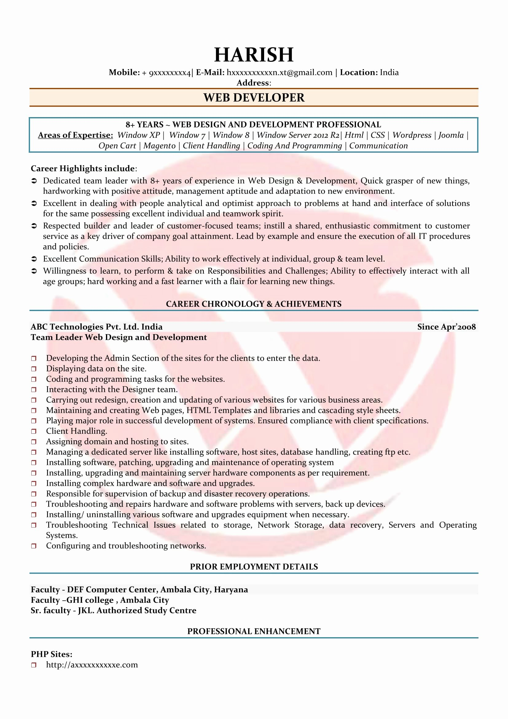 Web Developer Resume Template Best Of Web Developer Sample Resumes Download Resume format
