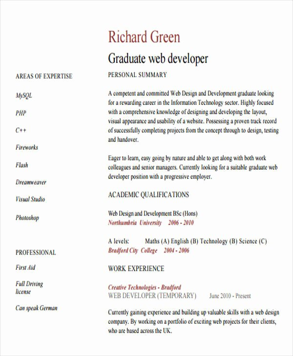 Web Developer Resume Template Elegant 10 Web Developer Resume Templates Pdf Doc