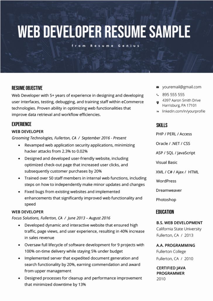 Web Developer Resume Template Fresh Resume and Template 46 Phenomenal Web Developer Resume
