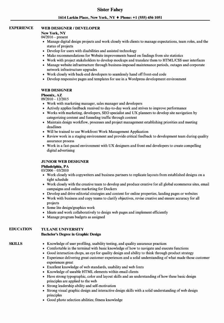 Web Developer Resume Template Fresh Resume and Template Web Designer Resume Template