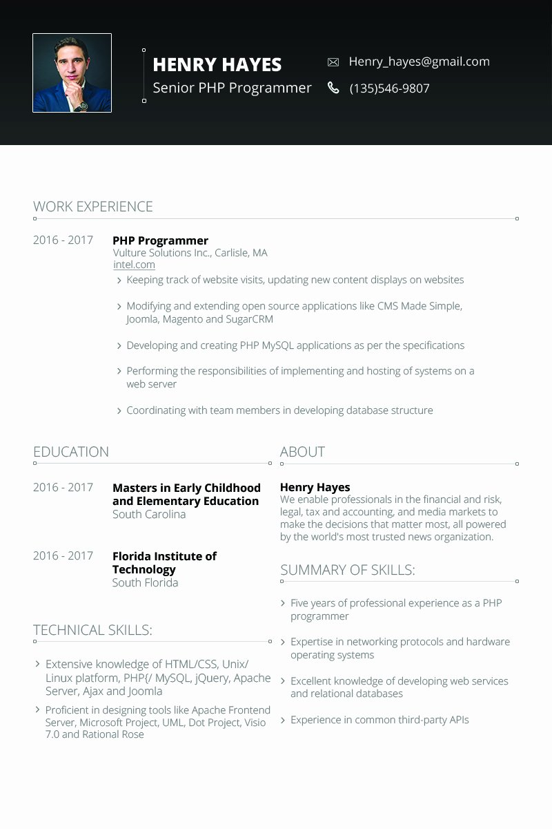 Web Developer Resume Template Lovely Henry Hayes Web Developer Resume Template