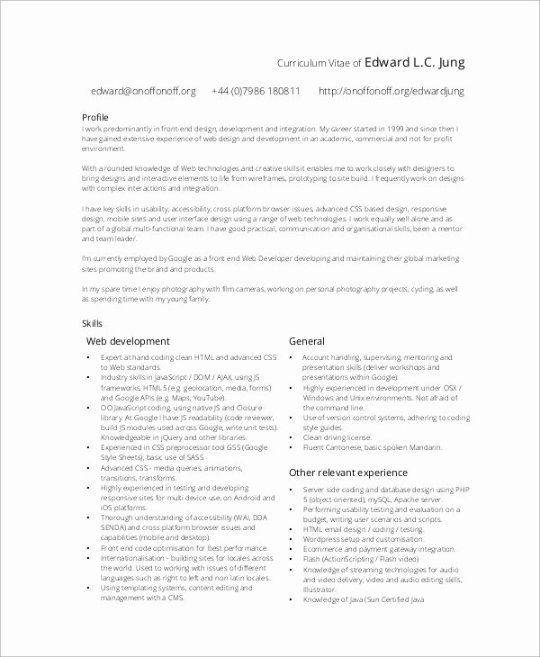 Web Developer Resume Template Unique 10 Sample Web Developer Resumes