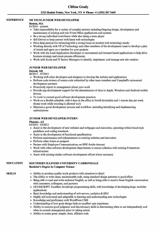 Web Developer Resume Template Unique Junior Web Developer Resume Samples