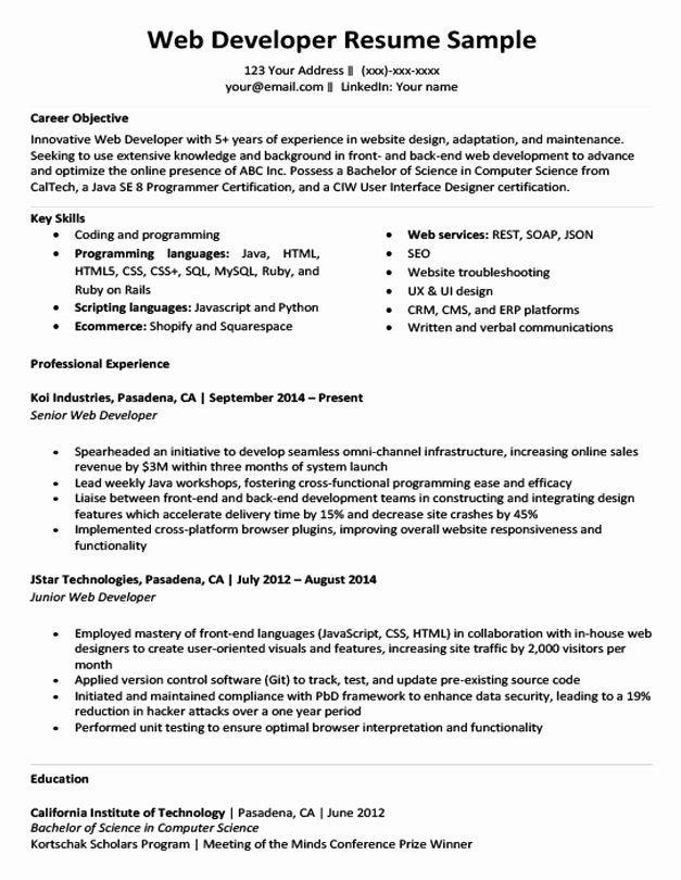 Web Developer Resume Template Unique Web Developer Resume Sample & Writing Tips
