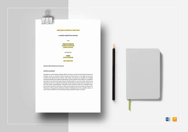 Website Competitive Analysis Template Awesome 20 Petitive Analysis Templates Pdf Doc
