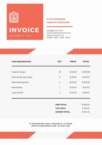 Website Design Invoice Template Best Of Customize 203 Invoice Templates Online Canva