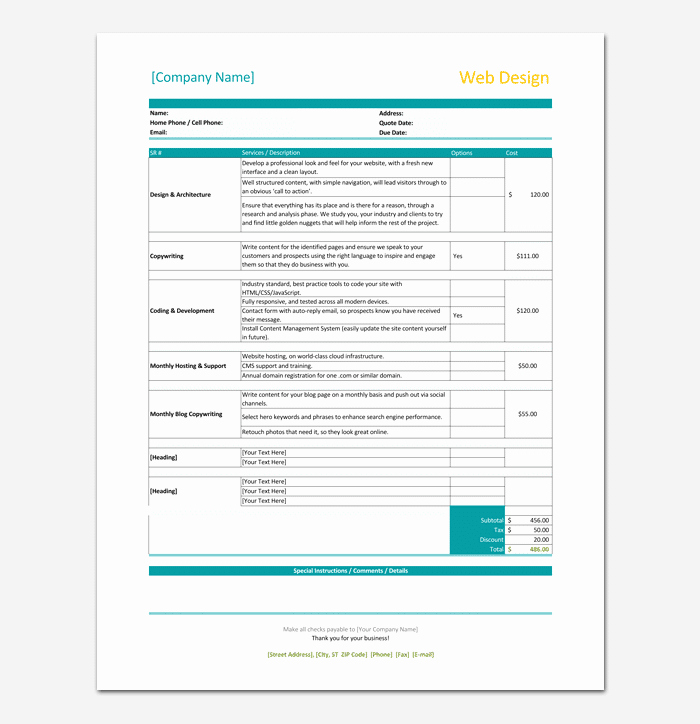 Website Design Invoice Template Elegant Freelance Invoice Template 5 for Word Excel & Pdf format