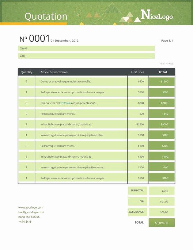Website Design Quote Template Beautiful Invoice Sample
