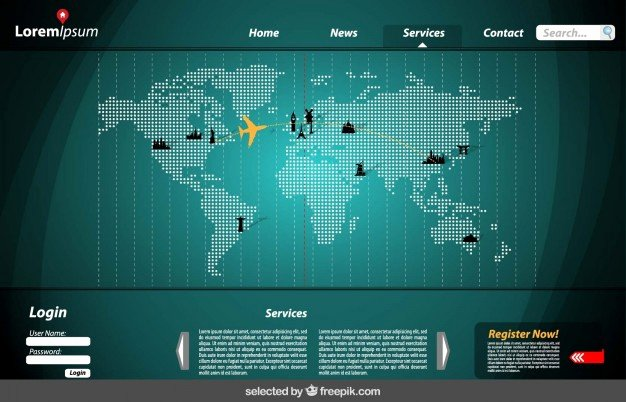 Website Site Map Template Best Of Website Template with Map Vector