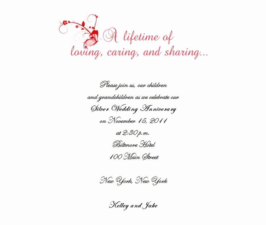 Wedding Anniversary Invitation Template Awesome 25th Wedding Anniversary Invitations 2 Wording