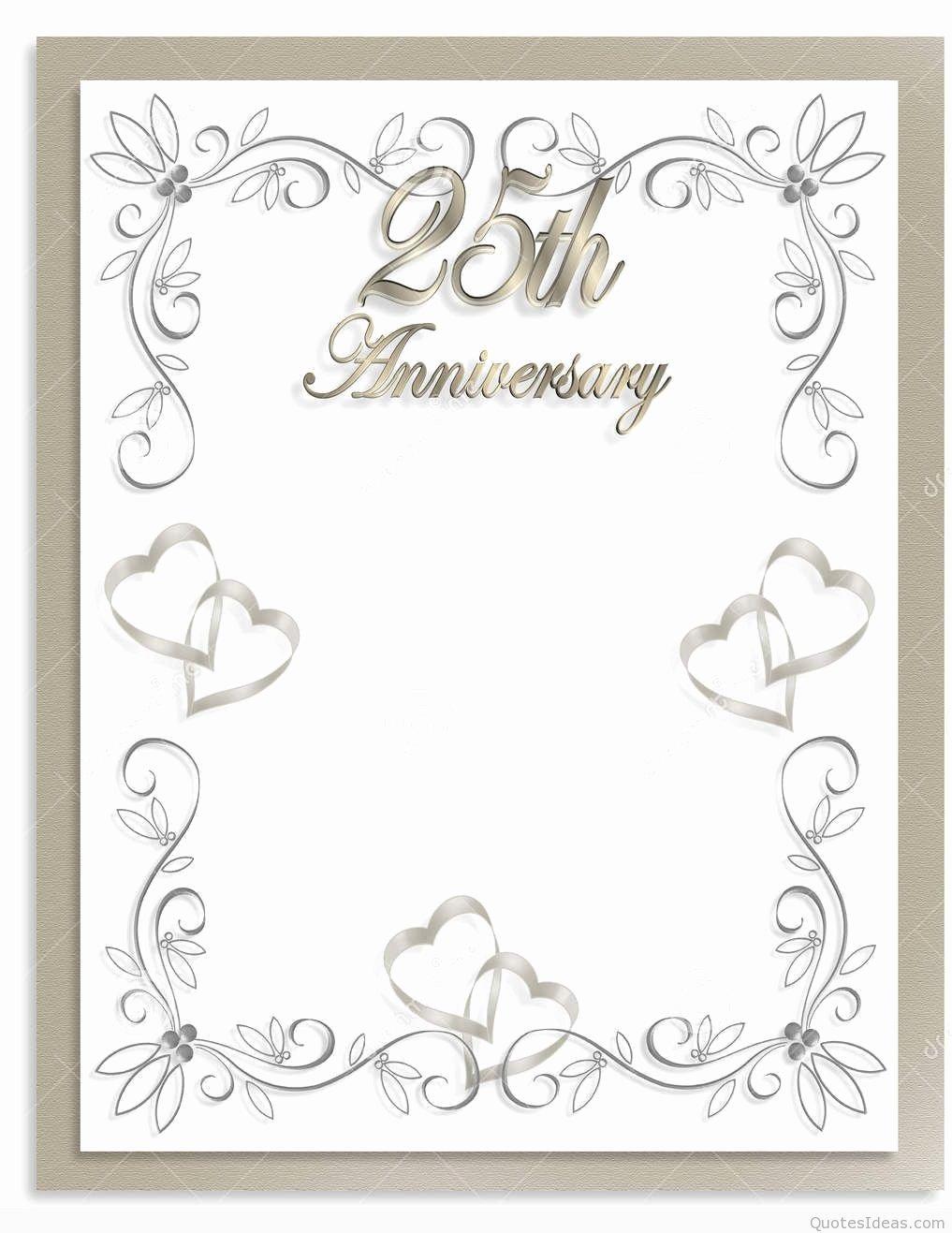 Wedding Anniversary Invitation Template Awesome Free 25th Wedding Anniversary Invitations Free Templates