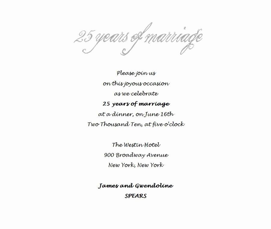 Wedding Anniversary Invitation Template Elegant 25th Wedding Anniversary Invitations 4 Wording