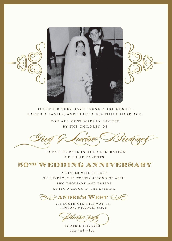 Wedding Anniversary Invitation Template Fresh Golden Wedding Anniversary Invitation Golden Wedding