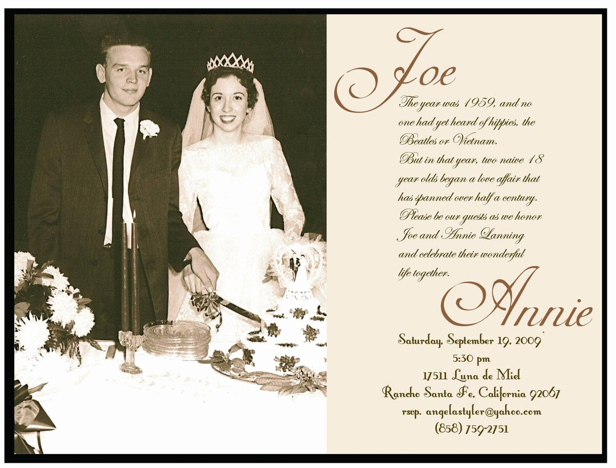 Wedding Anniversary Invitation Template Inspirational Golden Wedding Anniversary Invitation Golden Wedding