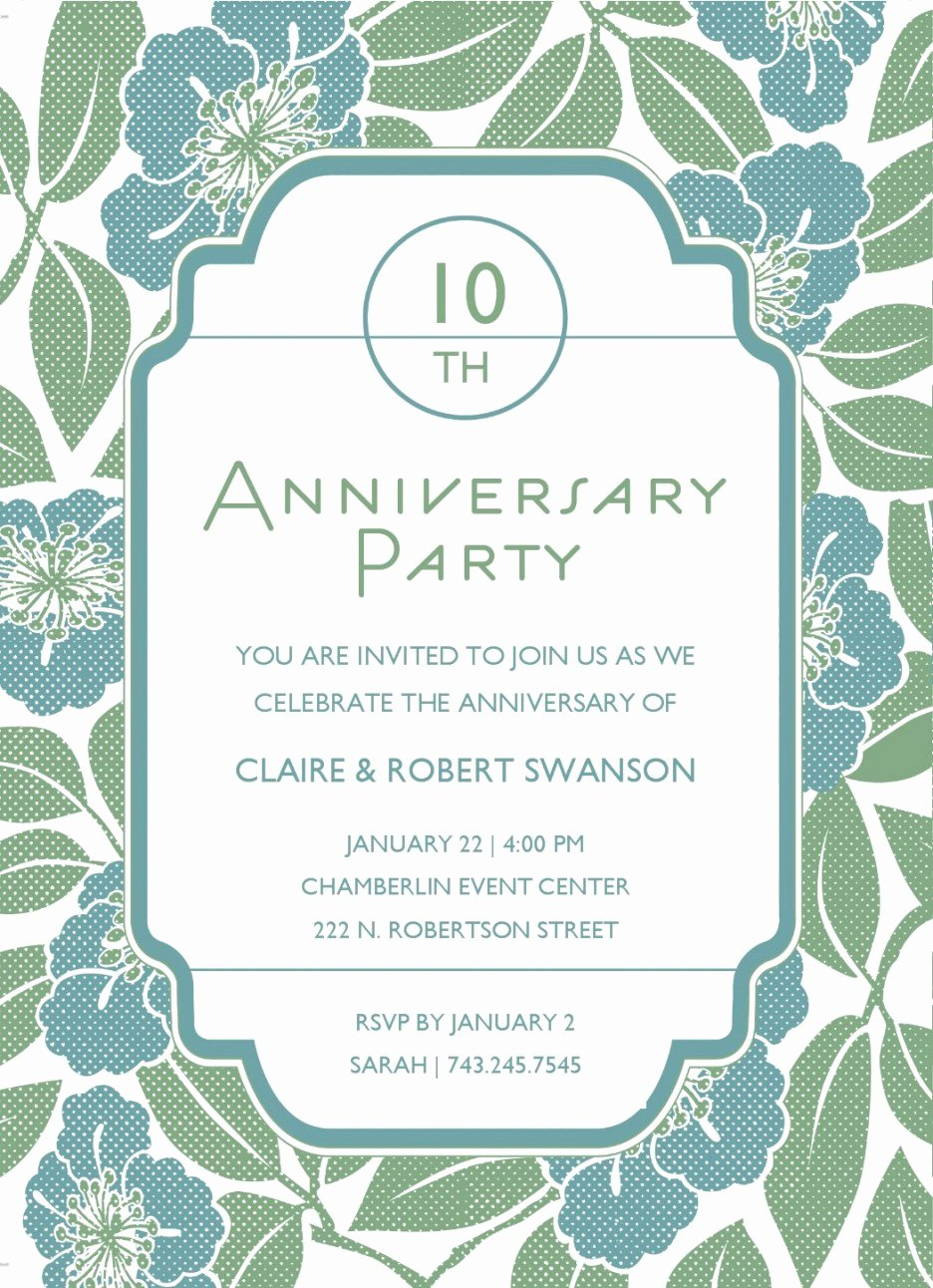 Wedding Anniversary Invitation Template Lovely 10th Anniversary Party Invitation with Floral Template