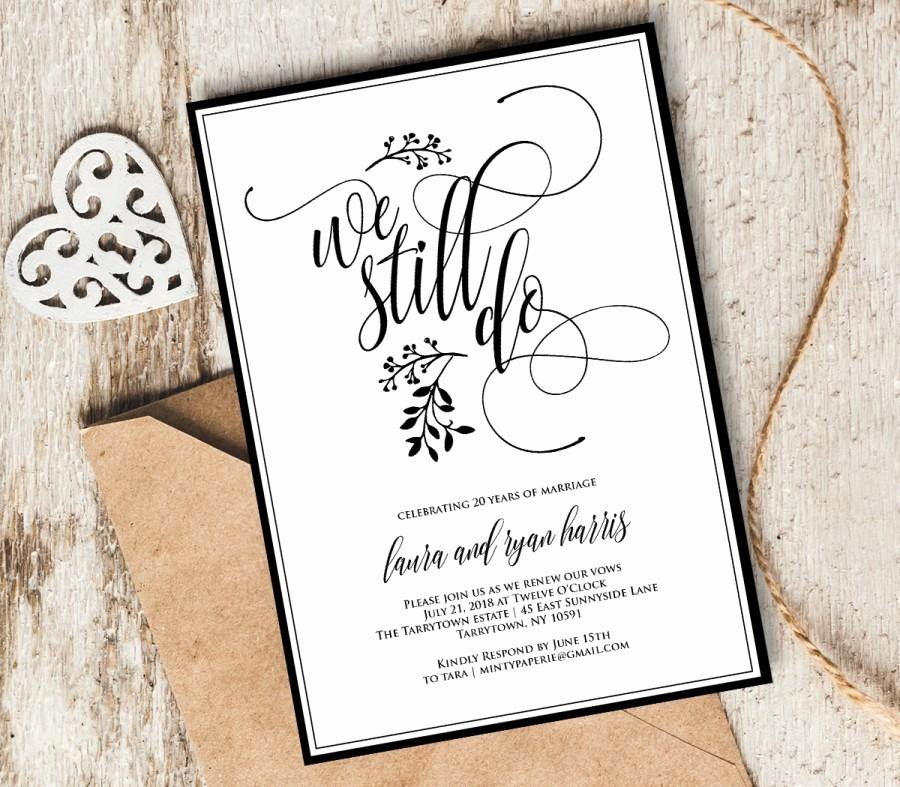 Wedding Anniversary Invitation Template Luxury Vow Renewal Invitation Template We Still Do Instant