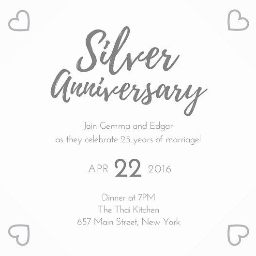 Wedding Anniversary Invite Template Beautiful Silver 25th Wedding Anniversary Invitation Templates by