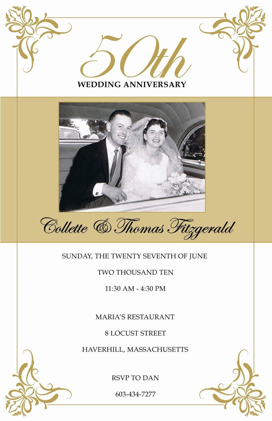 Wedding Anniversary Invite Template Elegant Annagraham Design 50th Anniversary