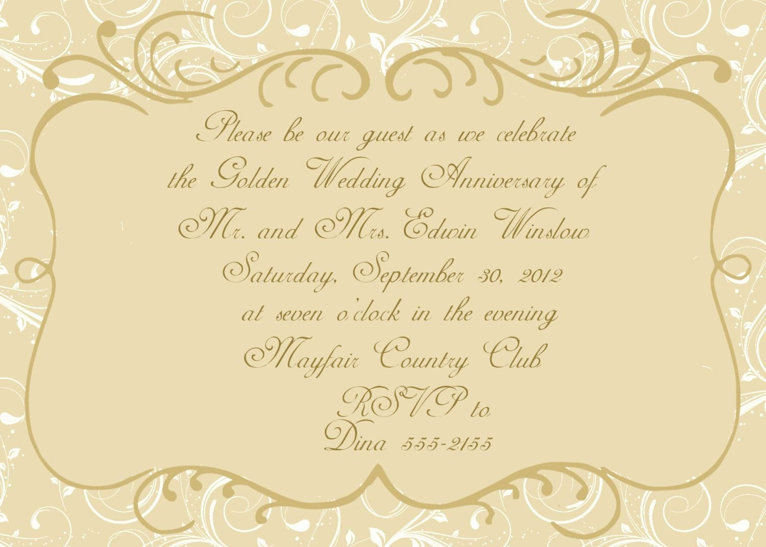 Wedding Anniversary Invite Template Fresh Anniversary Invitations Golden Wedding Anniversary