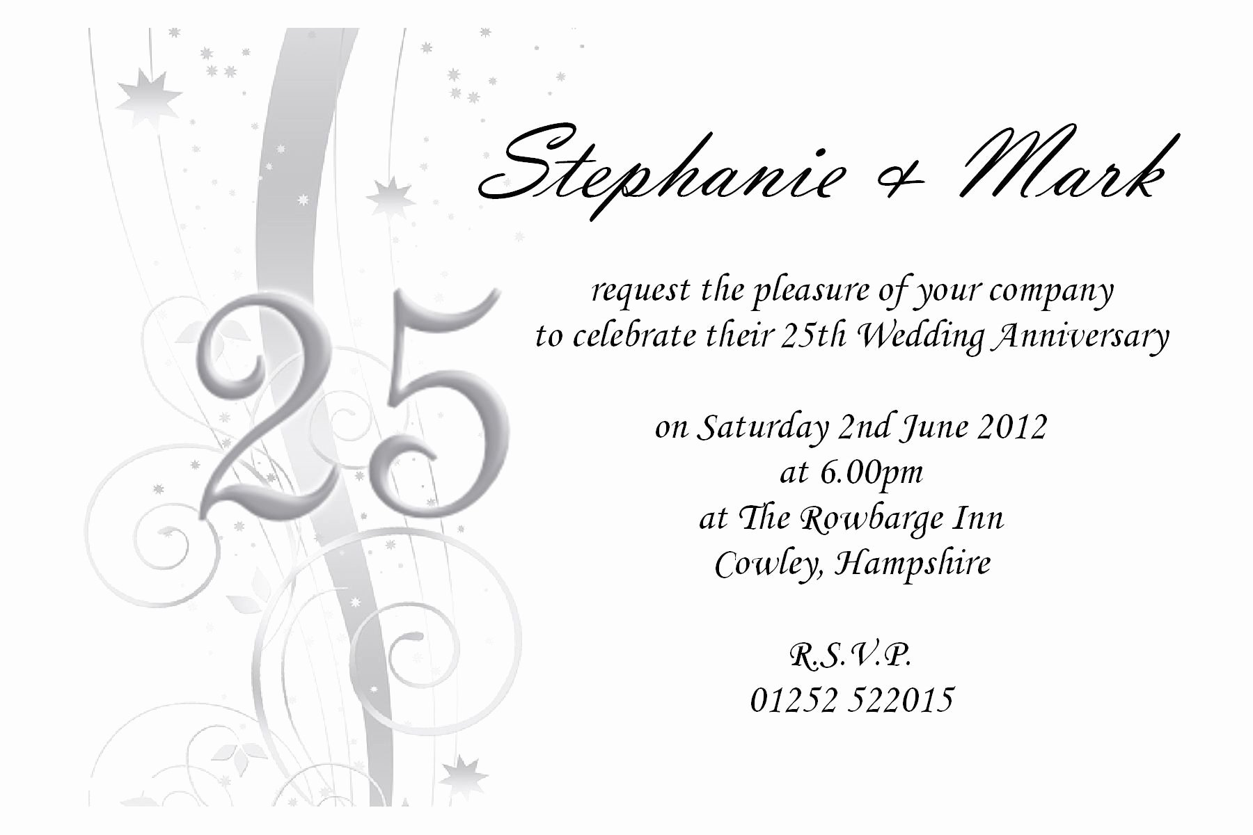 Wedding Anniversary Invite Template Fresh Free 25th Wedding Anniversary Invitations Free Online