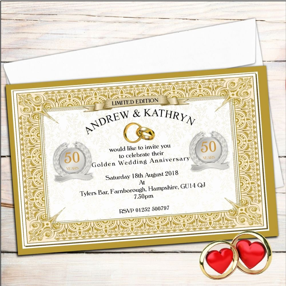 Wedding Anniversary Invite Template Inspirational Golden Wedding Anniversary Invitation Golden Wedding