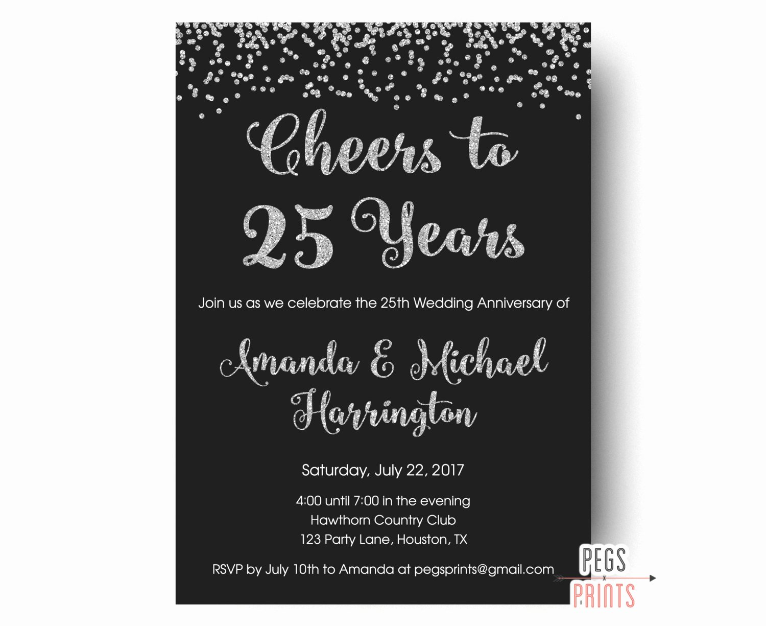 Wedding Anniversary Invite Template Lovely 25th Anniversary Invitations Printable 25th Wedding