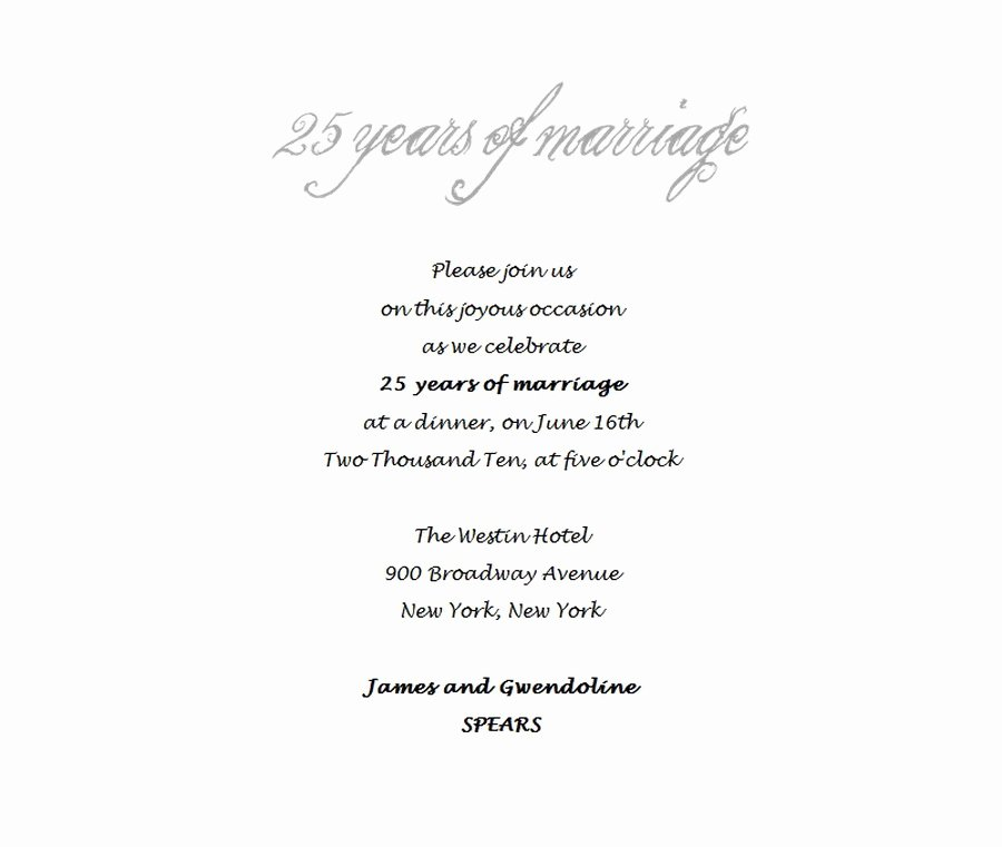 Wedding Anniversary Invite Template Luxury 25th Wedding Anniversary Invitations 4 Wording