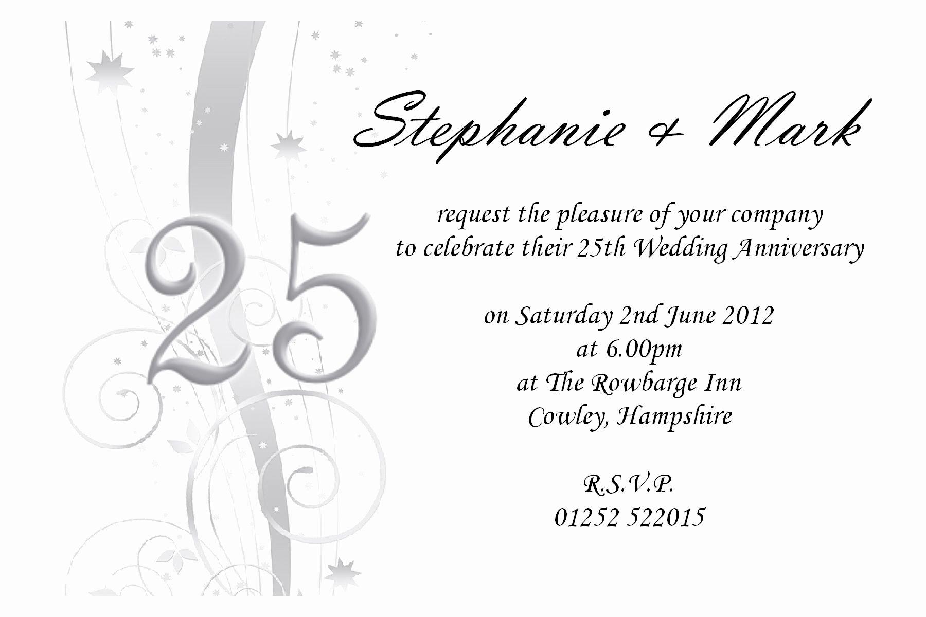 Wedding Anniversary Invite Template Luxury 25th Wedding Anniversary Invites 25th Wedding