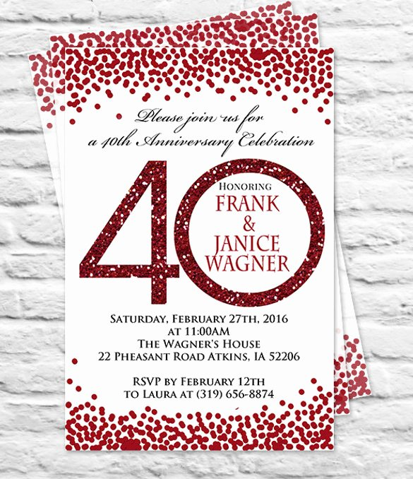 Wedding Anniversary Invite Template Luxury 40th Anniversary Template Invitation – orderecigsjuicefo