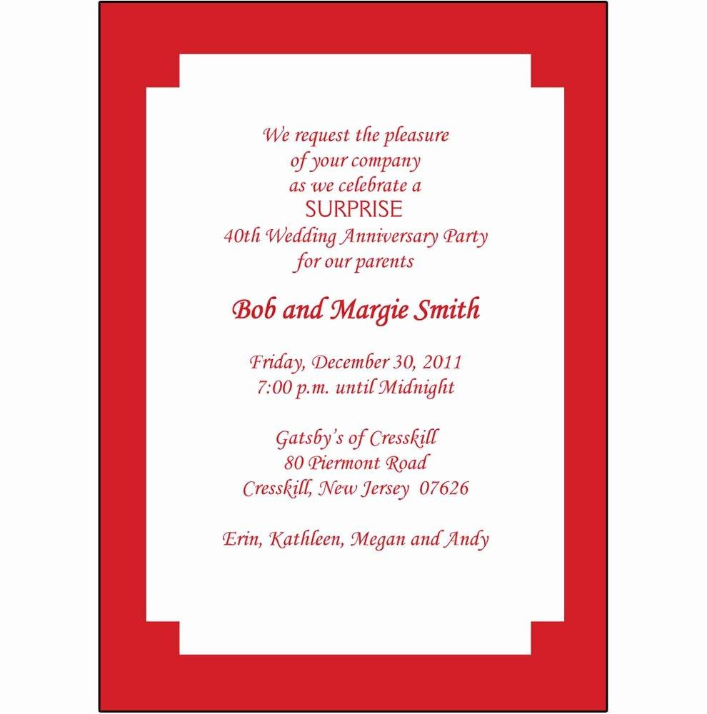 Wedding Anniversary Invite Template Luxury 40th Wedding Anniversary Invitation Templates