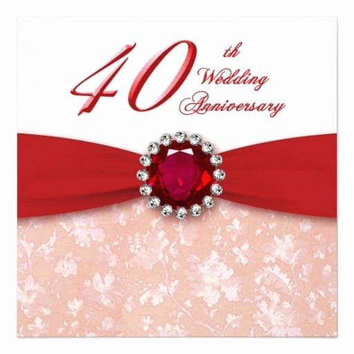 Wedding Anniversary Invite Template Luxury Free 40th Wedding Anniversary Invitation Template