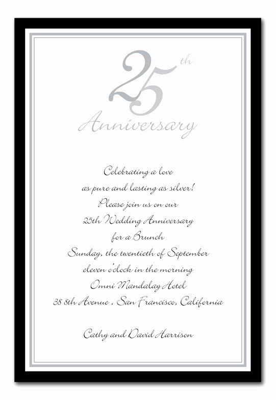 Wedding Anniversary Invite Template New Wedding Invitation Wording 25th Wedding Anniversary