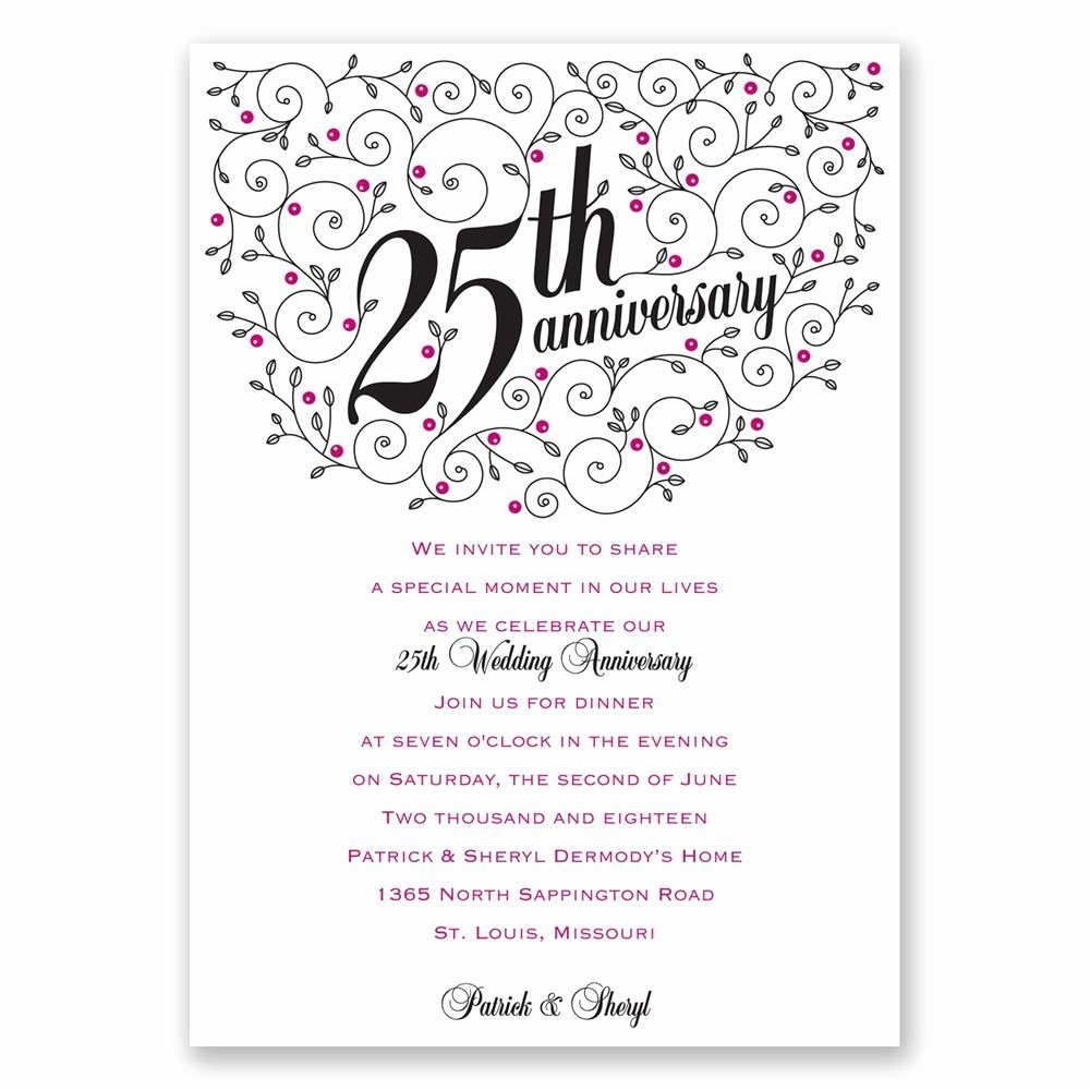 Wedding Anniversary Invite Template Unique Personalized Anniversary Invitations Personalized 25th