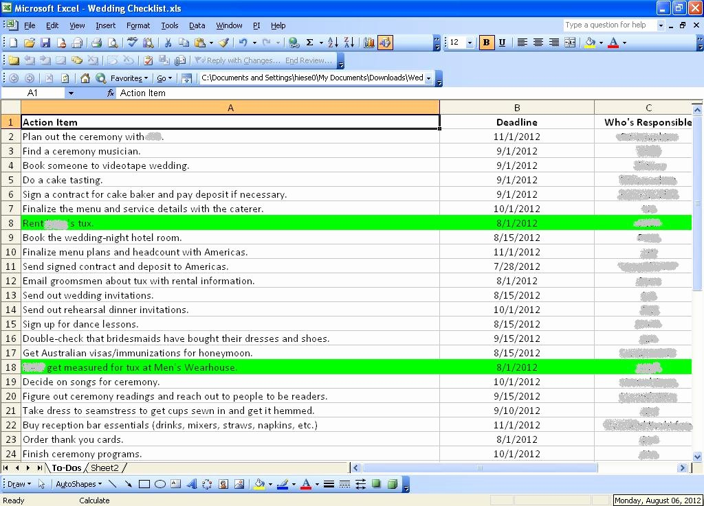 Wedding Checklist Excel Template Beautiful Wedding Planner Wedding Checklist Spreadsheets
