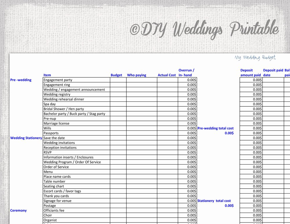 Wedding Checklist Excel Template Best Of Wedding Bud Spreadsheet Printable Wedding Bud Template