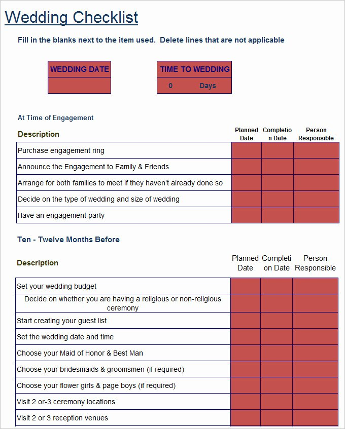 Wedding Checklist Excel Template Elegant Wedding Checklist Template 20 Free Excel Documents