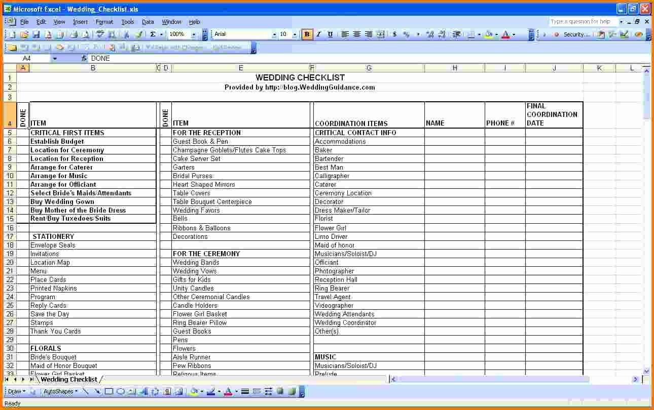 Wedding Checklist Excel Template Elegant Wedding Spreadsheet Template Spreadsheet Templates for
