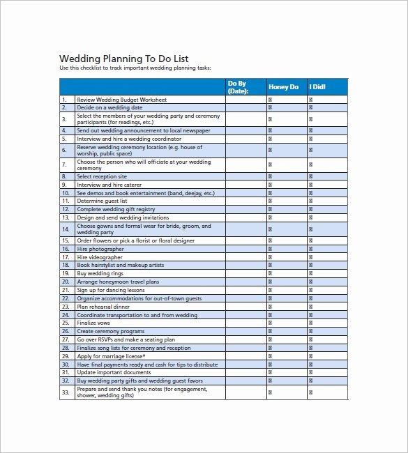 Wedding Checklist Excel Template Fresh Wedding List Template