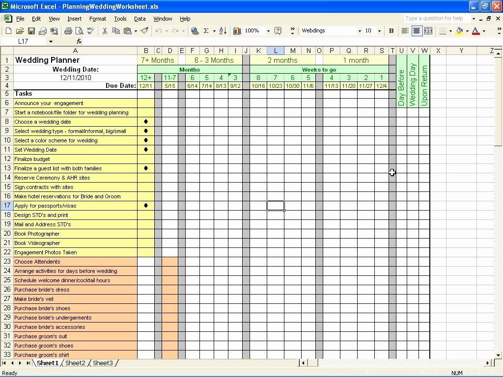 Wedding Checklist Excel Template Fresh Wedding Planning Checklist Excel Spreadsheet Google
